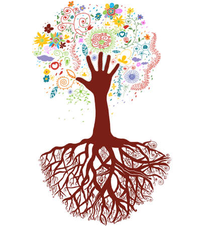 multi cultural: Colorful Tree hand.A colorful tree hand background. Stock Photo