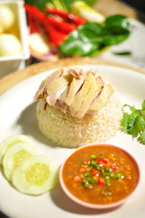 Asian style hainan chicken rice closeup photo