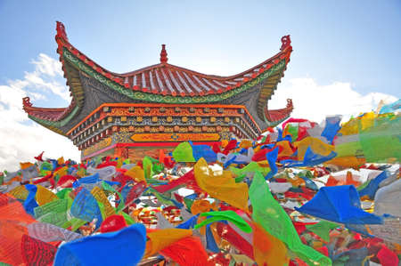 Tibet Pavilion and aflutter buddhist praying flag