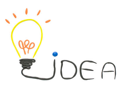 Idea bulb made from plasticine  isolated  on the white background Stock Photo