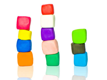 Stacks of plasticine blocks photo