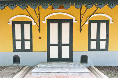 contrasting: Wat Nivet Portuguese style Buildings Bright and contrasting colors Thailand Stock Photo