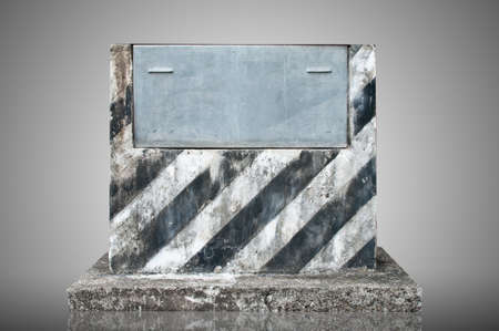 Old Cement podium and metal plate photo