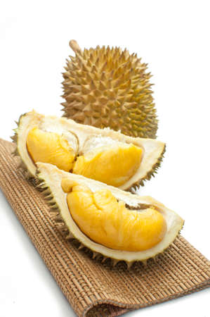 Close up of peeled durian isolated on white background  Stock Photo