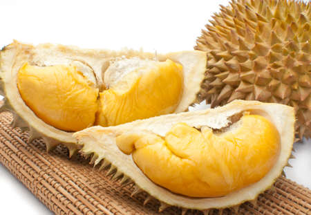 Close up of peeled durian isolated on white background  Stock fotó