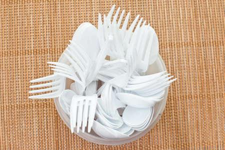 plastic spoon: Plastic spoon and fork