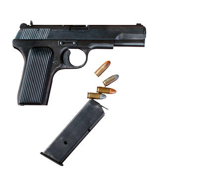 semi automatic: Pistol and bullets on a white background