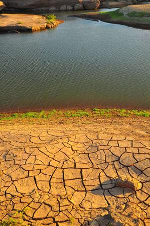 Arid land and lake photo