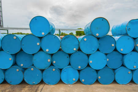 hazardous: oil barrels or chemical drums stacked up Stock Photo