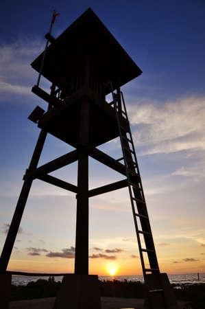 Life guard tower on sunset sky Stock Photo - 15299862