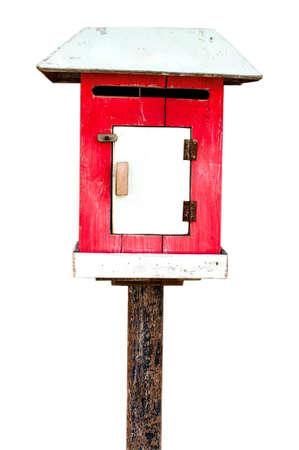 await: Wood mail box isolated