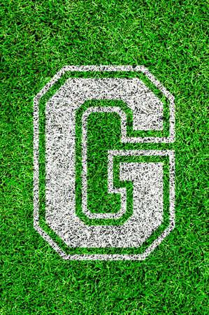 football pitch: White english alphabeth on green grass