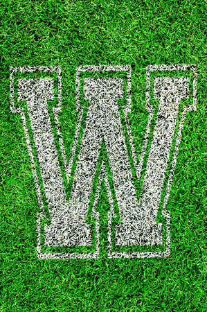 White english alphabeth on green grass Stock Photo - 15359957