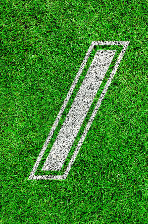 football pitch: White line number on green grass