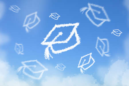 graduating: Cloud as Graduated hat throwed on sky , dreaming concept