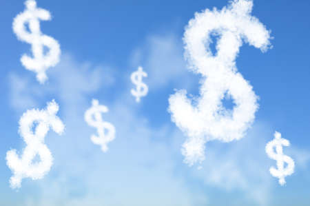 disperse: Cloud shaped as US Dollar currency sign, dreaming concept