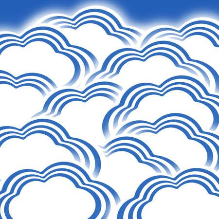 Illustration of blue stripe cloud illustration