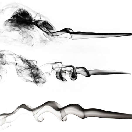 black smoke collection on white background Stock Photo