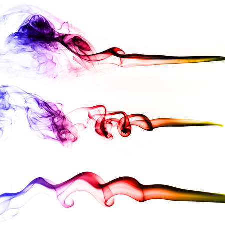 Collection of colored smoke isolated on white background 写真素材