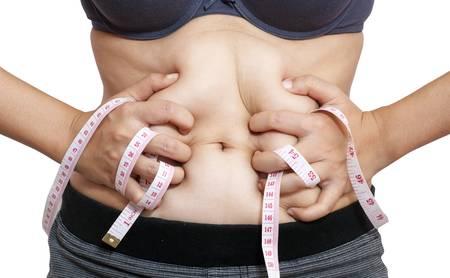 허리의 잘룩 한 선: 흰색에 절연 테이프를 측정 여자의 몸