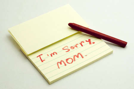 forgiven: Crayon a handwritten notes with sorry message