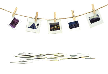 Slide film photo frames with hanger on rope with white background photo