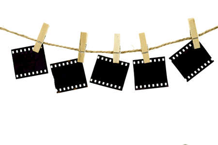 Blank photo frames with hanger on rope with white background Stock Photo - 15686937