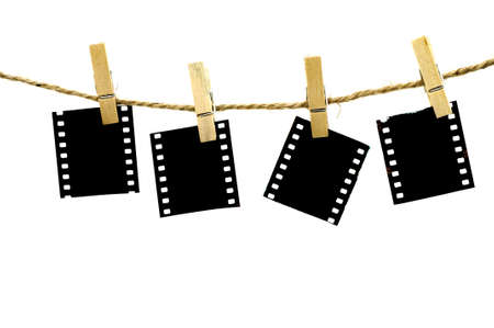 clothes peg: Blank photo frames with hanger on rope with white background