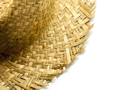 straw hat: Part of straw hat  on a white background
