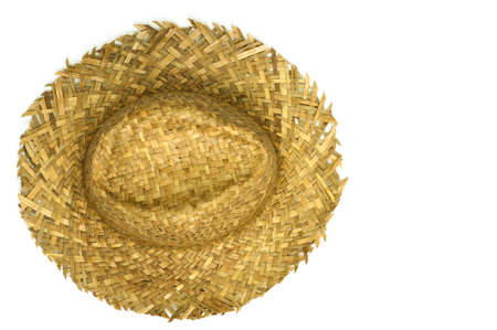 beach wear: Top view of straw hat isolated on a white background