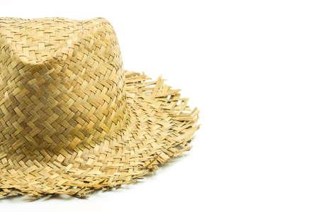 chapeau de paille: chapeau de paille isolé sur un fond blanc