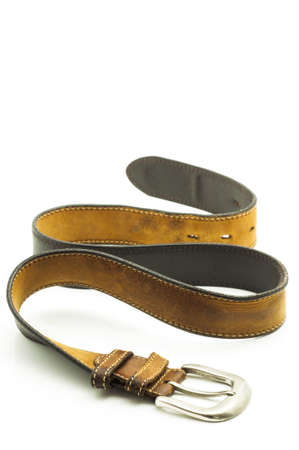 buckle: Rugged Brown Leather Jean Belt with Silver Buckle Isolated on White Stock Photo