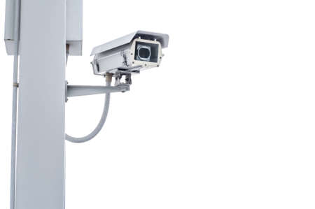 Security camera on the post with outdoor housing Stock Photo - 15990069