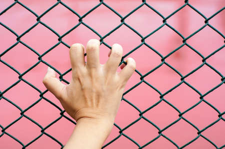 hand holding on chain link fence, red background photo