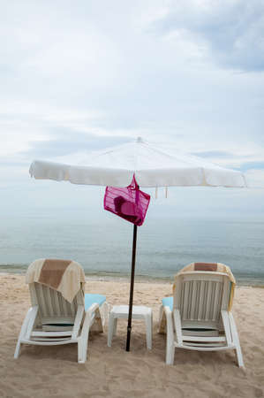 Vacation Image Of  Beach Umbrella And Loungers On Tropical Beach With Copy Space Stock Photo - 16587147