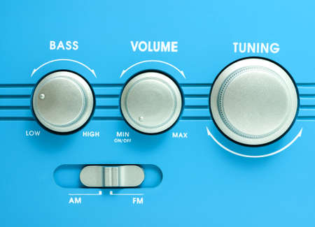 Blue transistor radio button ,tuning, volume, bass equalizer