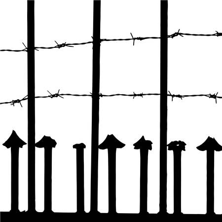 Aged fence and barbed wire vector Stock Vector - 16852472