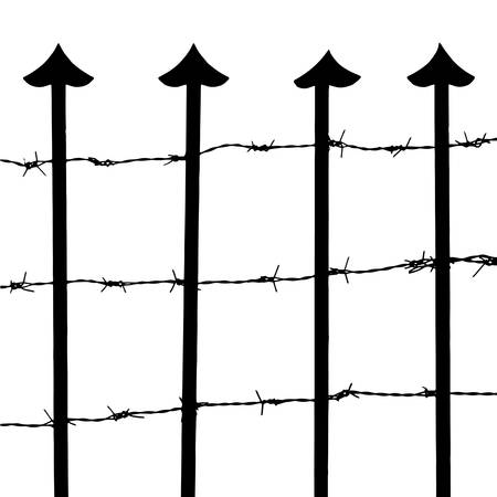 penitentiary: Fence and barbed wire vector Illustration