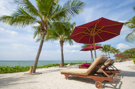 Vacation Image Of Beach Umbrella And Loungers On Tropical Beach Stock Photo - 16944698
