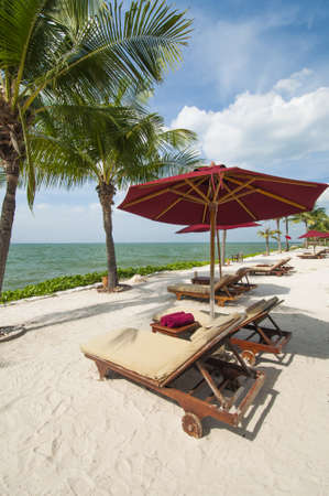 Vacation Image Of Beach Umbrella And Loungers On Tropical Beach Stock Photo - 16944701