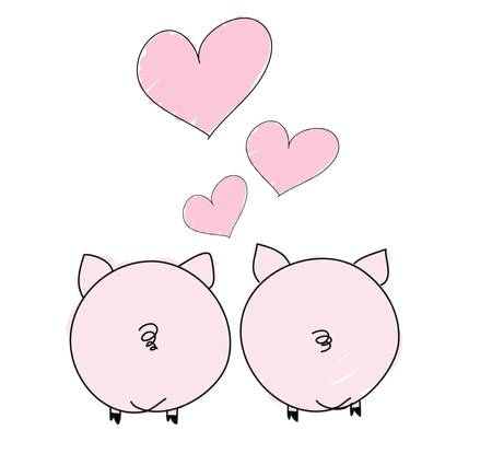 two pigs in love. Valentine's Day  イラスト・ベクター素材