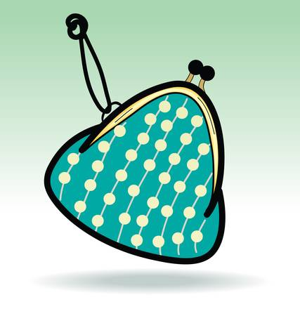 clasp: Green Change Coin Purse with clasp and polka dots pattern,doodle illustration