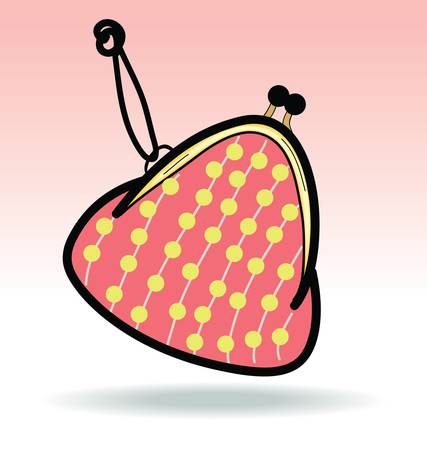 clasp: Red Change Coin Purse with clasp and polka dots pattern,doodle illustration
