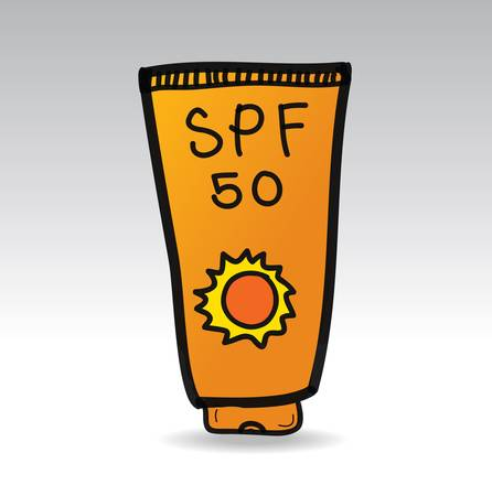 sun lotion: bloqueador solar crema doodle de ilustraci�n