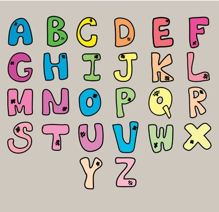 cartoon alphabet, pour concept, illustration Stock Vector - 17438726
