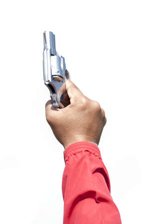 man holding gun: Man hand with red sleeve shirt holding gun isolated on white background