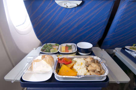 Airplane meal that serve with mixed food
