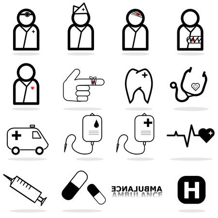 ampule: Hospital icons set vector