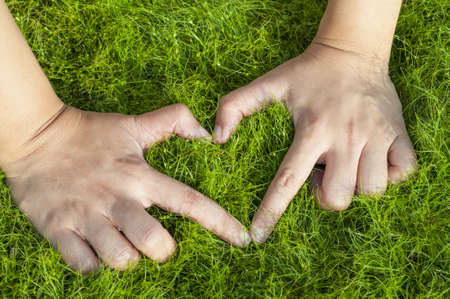 softly: Hand make heart shape on softly grass field Stock Photo