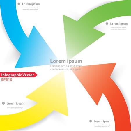 centralize: Colorful four arrows design for workflow layout, diagram, number options, web design, infographics